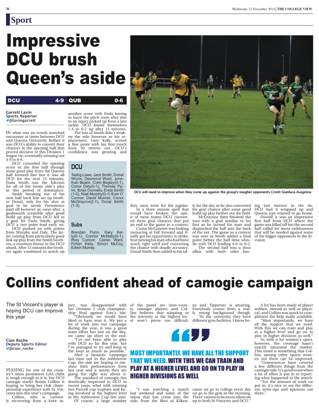 Page 26 of Issue 4, The College View, 12 November 2014