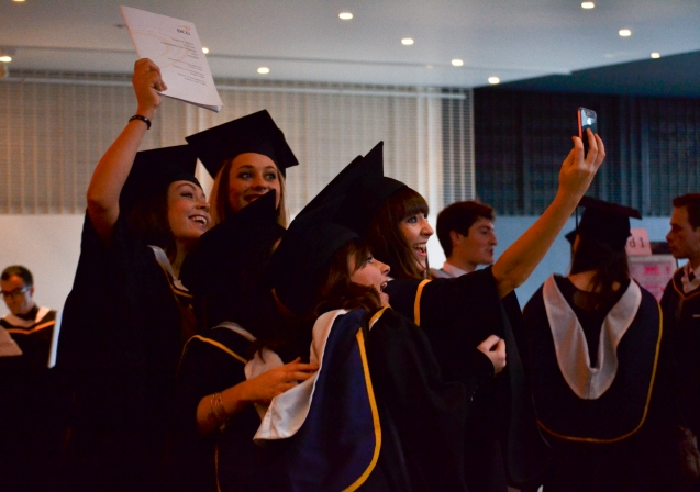 A group of DCU graduants take a selfie five minutes before the start of the ceremony in The Helix on Thursday afternoon. Over 2,500 students were awarded a degree between Wednesday and Friday last week. (Gianluca Avagnina Photography 1/80, 4.5, 800, WB: Tungsten light)