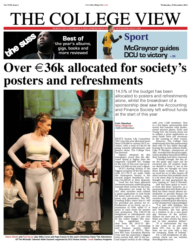 Front page, Issue 6, The College View, 10 December 2014
