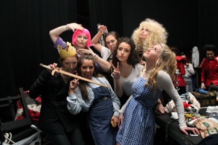 "Members of the cast of DCU Drama's Panto ""The Adventures of the Wickedly Talented Adele"" in the backstage of The Venue on Thursday night. The Society sold over 350 tickets and will donate the money raised to charity (Gianluca Avagnina Photography)."