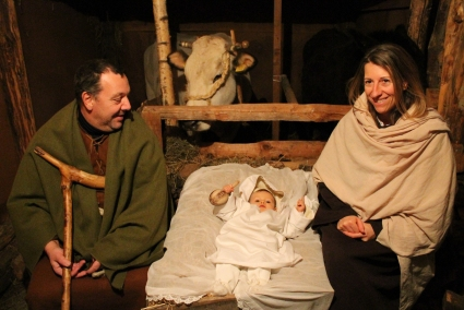 (continued) ...The Holy Family is always played by a local family: this year it was impersonated by Massimo Maule (Saint Joseph), Manuela Marenchino (Virgin Mary) and the little Greta Maule (Baby Jesus). The manger is traditionally located in a hut opposite to the main entrance to the Parochial Church. (Gianluca Avagnina Photography)